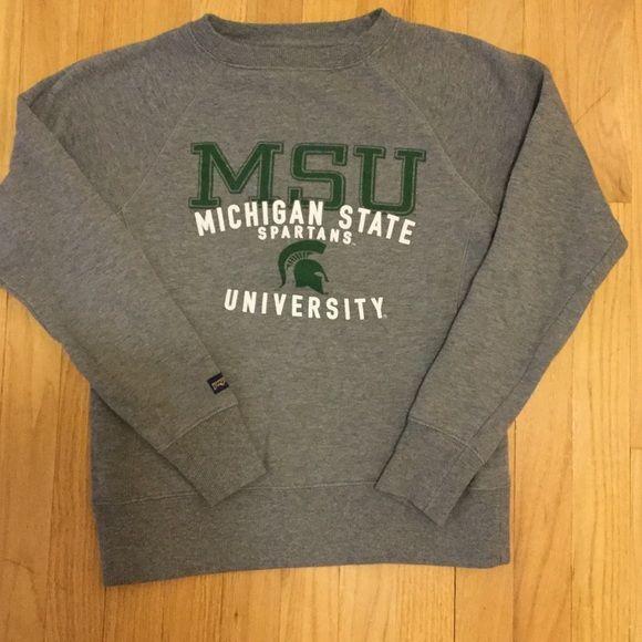 Michigan State University crewneck sweatshirt Michigan State University crewneck sweatshirt in gray. With MSU colors. Great condition. Go green. Jansport Tops Sweatshirts & Hoodies