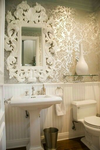 Classic white mirror n whites wc with gold n beige wallpaper.for a classic neo theme washroom