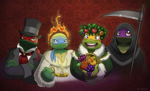 A Turtle Christmas Carol. Merry Christmas everyone! Raph as Ebeneezer Scrooge, Leo as the Ghost of Christmas past, Mikey as the Ghost of Christmas Present and Donnie as the Ghost of Christmas Future.