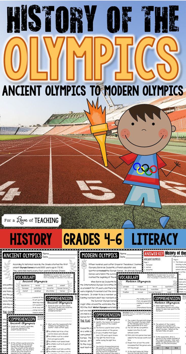The History of the Olympics: from Ancient Olympics to Modern Olympics. This product can be used with Summer Olympics or Winter Olympics!