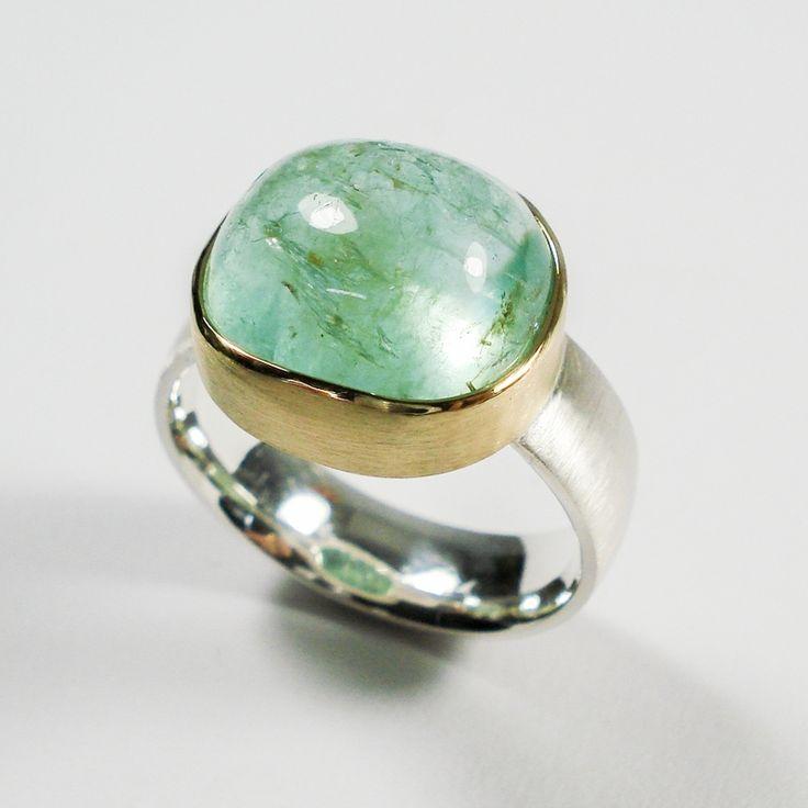 Smaragd, zilver & 18 karaat goud