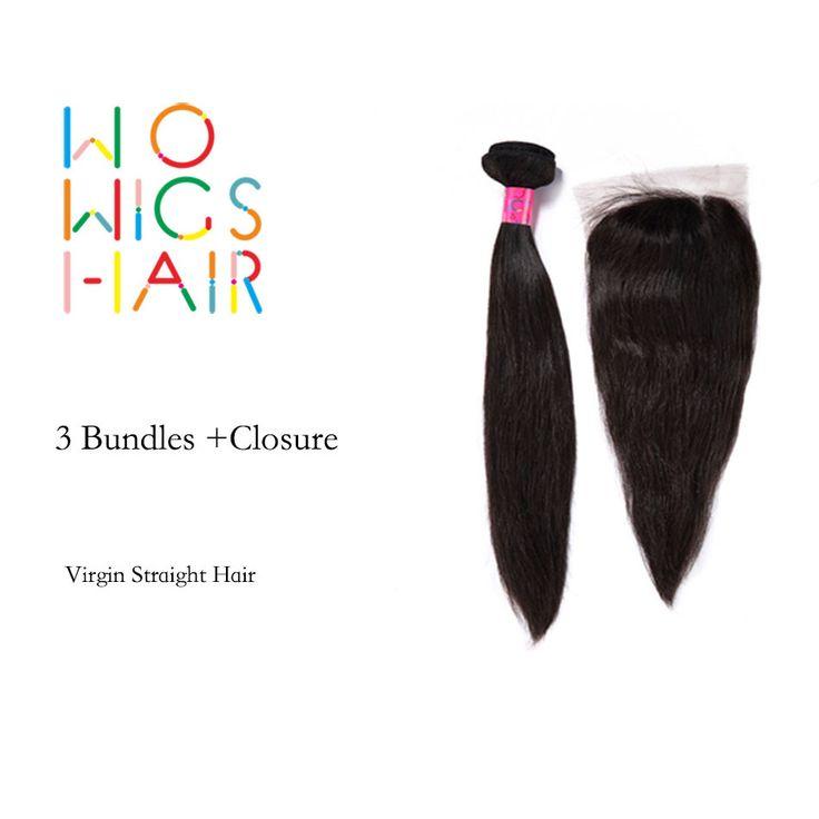 WoWigs Rambut Peru Perawan Rambut Lurus 3 Bundel Kesepakatan Dengan Top Lace Penutupan Warna Alami 1B