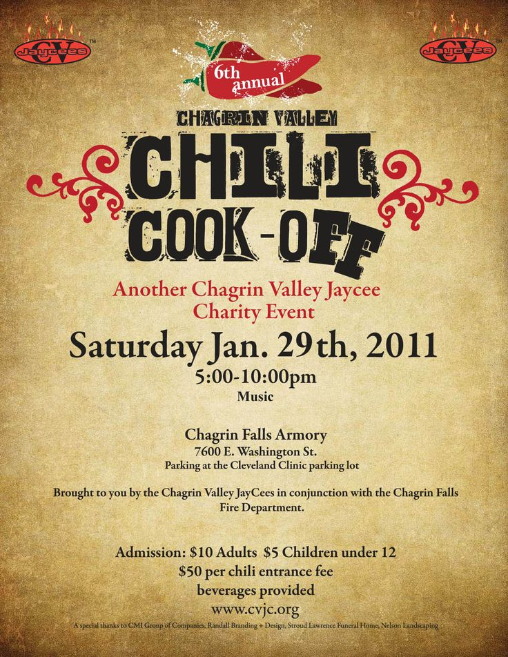 Chili Cook Off Flyer Template Free Printable - WOW - Image - halloween potluck sign up sheet template