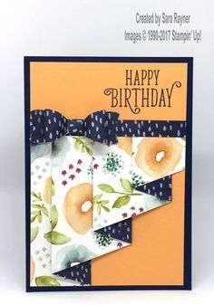 20 days of paper projects – day 10 - drape fold birthday card using Naturally Eclectic DSP.