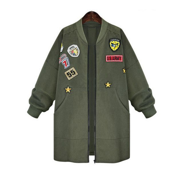 Army green bomber jacket women 2016 spring autumn oversized coats plus size XL-5XL ladies casual lose cardigan KM1400