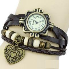 Kalp Temalı Boncuklu Bayan Kahverengi Deri Bileklik Saat