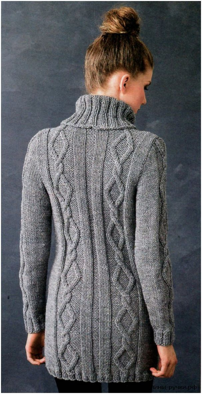 Вязаный спицами свитер с косами (knitting sweater with braids)