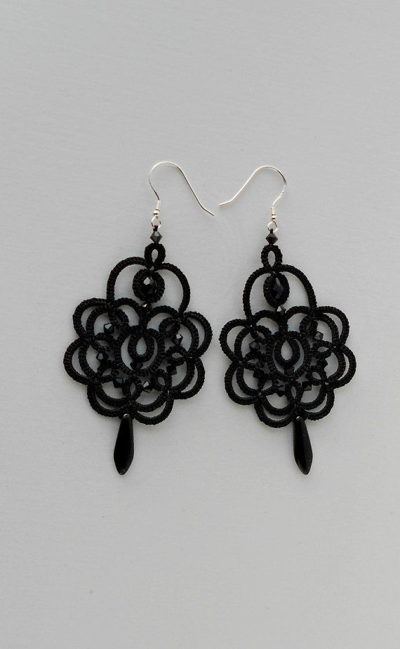 Black lace earrings black earrings with by TattingLaceJewellery