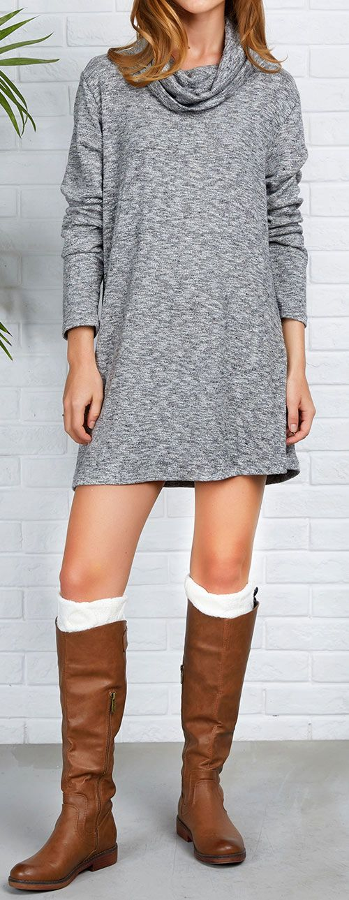 $24.99 Only with free shipping&easy return! This cozy knitting dress is perfect for staying wonderfully warm this season! It is detailed with turtle neck&great stretch! Best item for this season! Get it at Cupshe.com