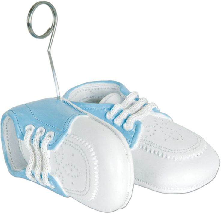 Baby Shoes Photo/Balloon Holder - White with Light Blue Upper (Case of 12)