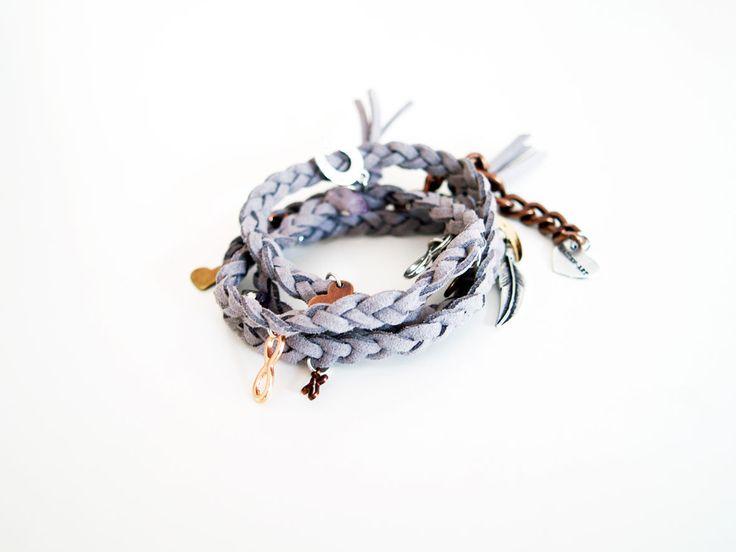 Dust wraparound bracelet in deerskin leather with charms  #jewelry #leather #bracelet #wraparound #wrap #handmade #stonering #chains #cuff #chic