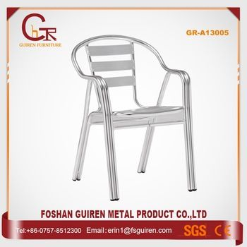 Wholesale furniture products fancy outdoor aluminum stacking restaurant dining chair