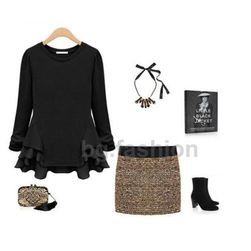 Mode-Femme-Sexy-Tops-Peplum-Manche-Longue-Col-Rond-Hauts-Asymetrique-Shirts-Pull