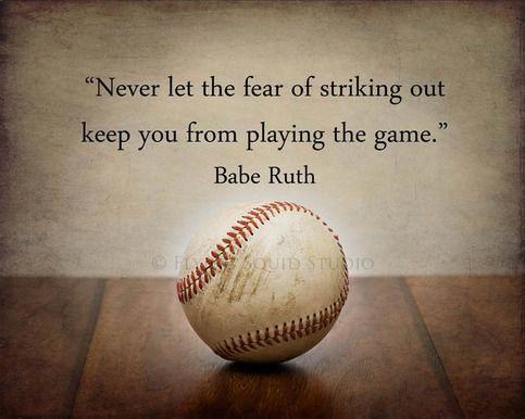 """Baseball Fine Art Print """"Lassen Sie sich nicht von der Angst abhalten, das Spiel zu spielen"""" – Sie haben die Wahl zwischen Papier oder Leinwand und verschiedenen Größen   – me quotes"""
