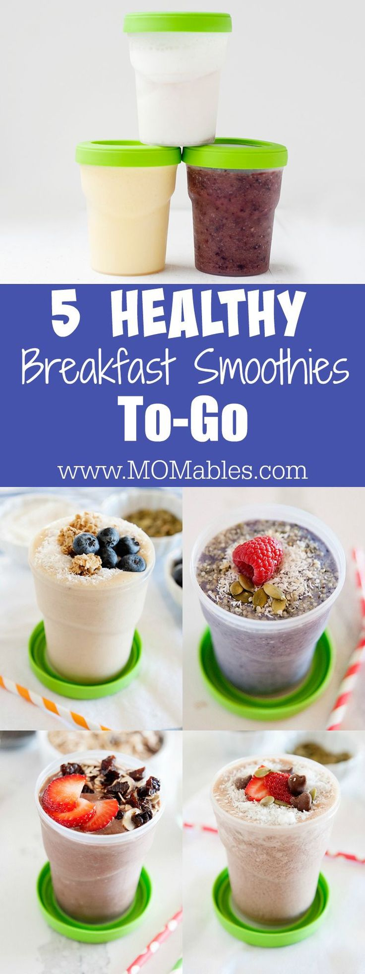 These five smoothie recipes are filled with nutrition and are perfect for a quick breakfast. The best part? They are 100% portable and can easily be packed inside the lunchbox.