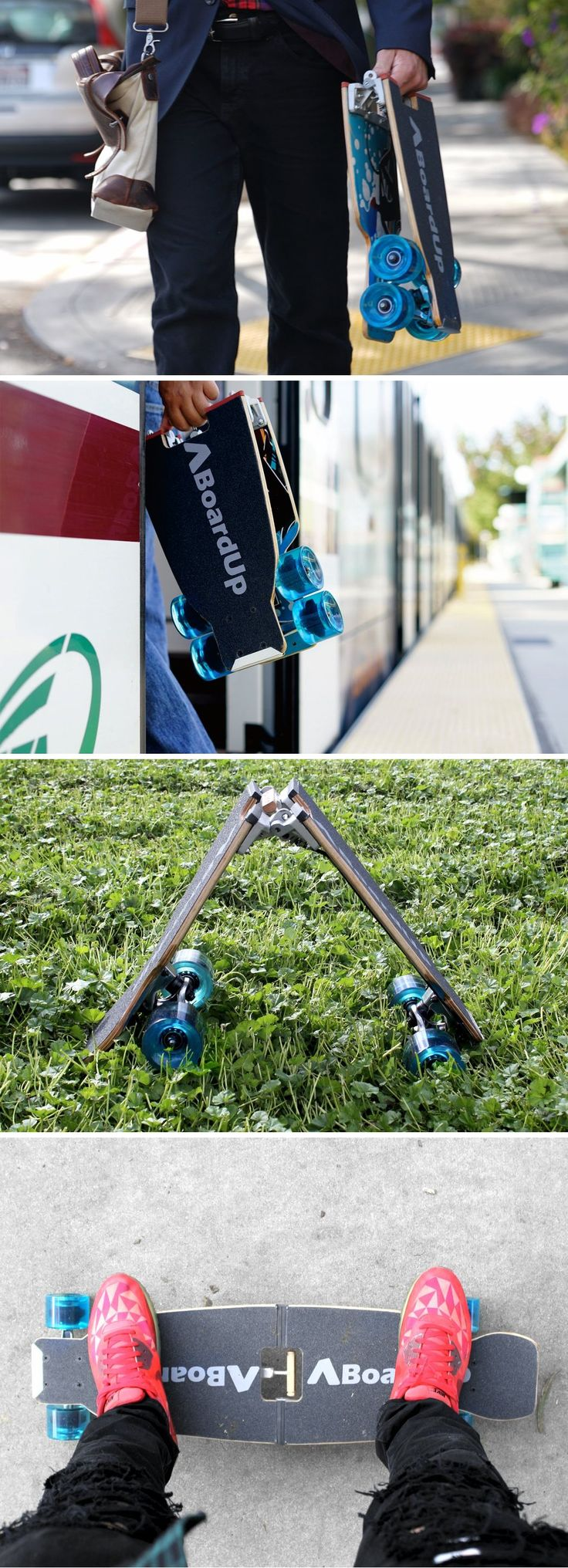 BoardUp, a foldable longboard has the footprint as a laptop, making it easy to fit even an airplane compartment.