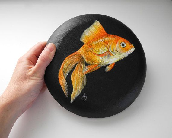 Goldfish painting, round canvas circle, gold fish art