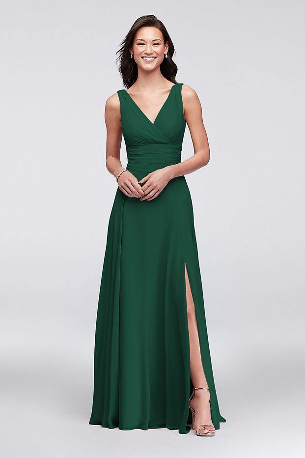 8d9c54e94f1 Surplice Tank Long Chiffon Bridesmaid Dress