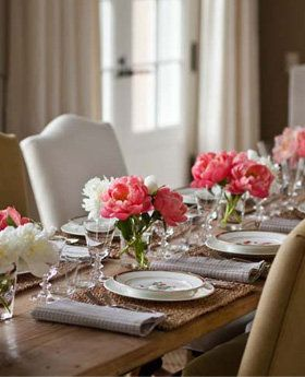 lower centerpieces make it easier to see everyone at the table