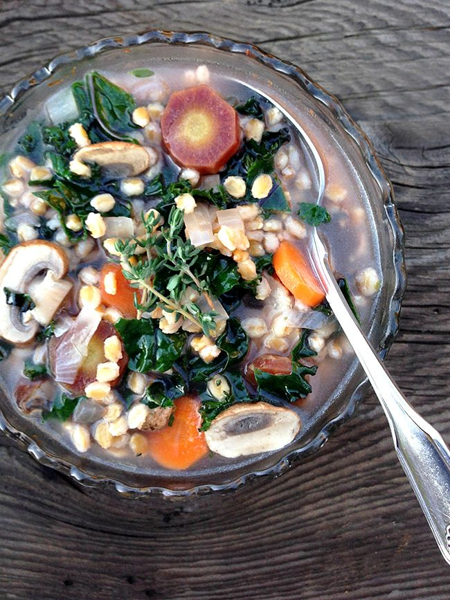 Heart Healthy Soup: Purple Kale, Carrots, and Cremini Mushrooms With Einkorn Wheat Berries by Stephanie Quilao, our February 2015 blogger.