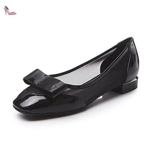 Mocassin Femme Chaussure Bateau Vernis Slip-on Loafers Mesh sur le côté n?ud Papillon Bout Rond Talon Bloc Classique Noir 37 - Chaussures xtian (*Partner-Link)
