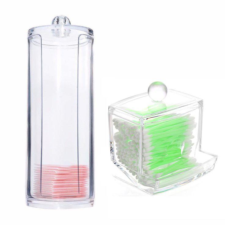 Portabel Transparan Acrylic Cotton Swab Kotak Organizer Putaran Kontainer Kotak Penyimpanan Kasus membuat Kapas & Pad Untuk Rumah Hotel kantor