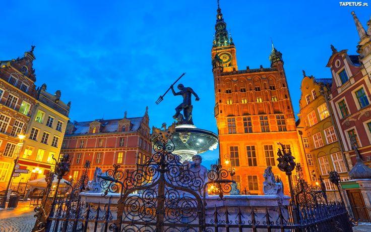 Neptun, Oświetlone Kamienice, Gdańsk, Polska