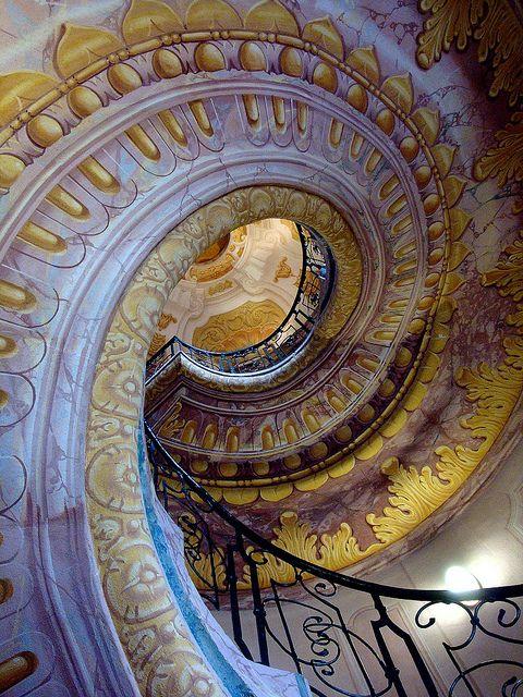 Beautiful spiral staircase at Melk Abbey, Austria (by debreczeniemoke).