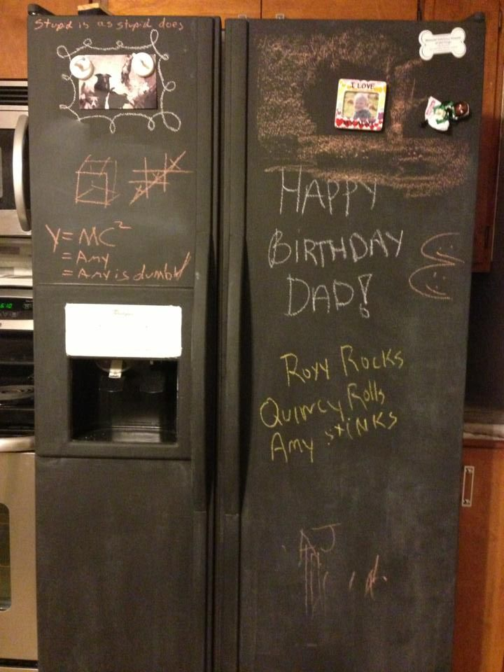 """making do and doing without....we'll be holding out on buying new appliances, so maybe meantime i'll paint the hideous white fridge black?!  """"I painted my refrigerator... with chalkboard paint."""""""