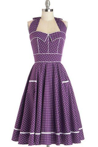 Noble Halter Backless Polka Dot Printed High Waist Ball Dress For WomenVintage Dresses | RoseGal.com