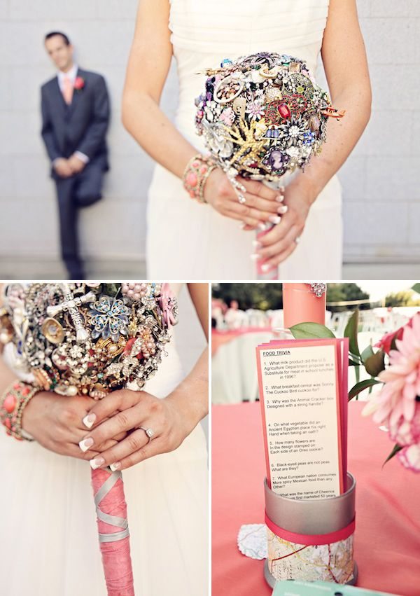 I know the bride in this blog! Her bouquet was arranged by her sister in antique jewelry!