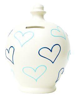 Terramundi Money Pot White with Blue Hearts