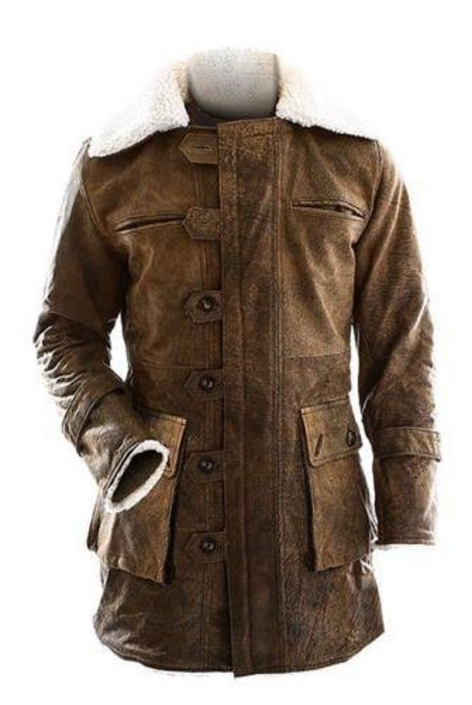 "BANE Dark Knight Rises Distressed Dark Brown Real Leather Coat is named after the third sequel of batman ""Dark Knight Rises"", the superhero ""Tom Hardy"" (Bane) worn this product in the movie."
