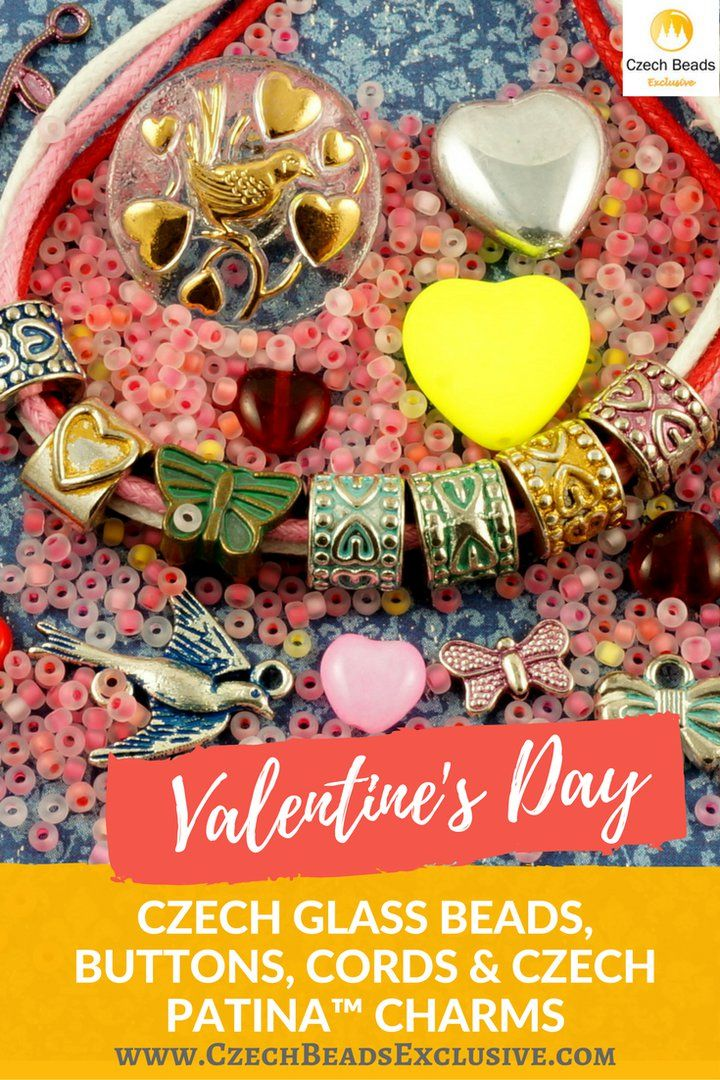 ?Valentine's Day Czech Glass Beads, Buttons, Cords and Czech Patina� Charms  Different Colors & Shapes! - Buy now with discount! www.CzechBeadsExclusive.com/+valentine  Hurry up - sold out very fast! SAVE them! #czechbeadsexclusive #czechbeads