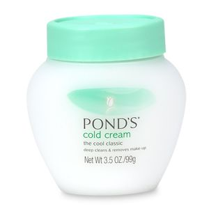 Pond's Cold Cream. Another wonderful economical substitute for more expensive products. I can remove waterproof mascara with it, wash my face with it, use it as a night cream, and also apply very sparingly as a foundation under coty loose translucent powder as a foundation. When I need to travel light or spare my expensive products for really important events, I use ponds and coty powder.