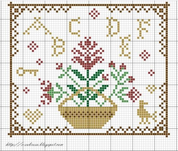 Flower Basket, a, b,c,d,e,f, key, bird, heart
