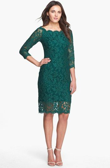 Tadashi Shoji Off Shoulder Embroidered Lace Sheath Dress available at #Nordstrom