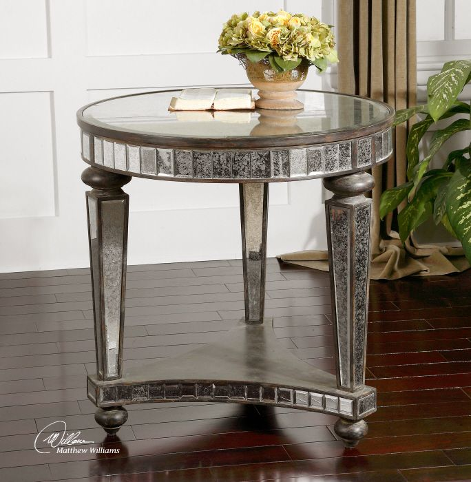 Medium image of uttermost sinley mirrored accent table in distressed ebony   24235   lowest price online on all uttermost sinley mirrored accent table in distressed ebony