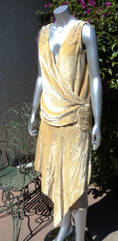 1920s Silk Velvet Beaded Dress with Pearls and rhinestones 3D flower Drop waist Art Deco Fully restored. $1,500.00, via Etsy.