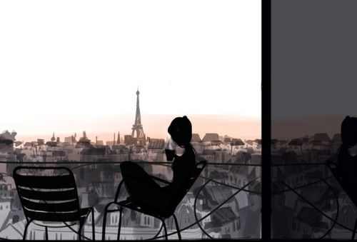 LOVE it..just replace Paris for a garden and this is where I would like to be right now with my cup of coffee