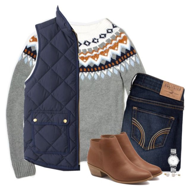 J.Crew Fair Isle sweater with navy quilted vest