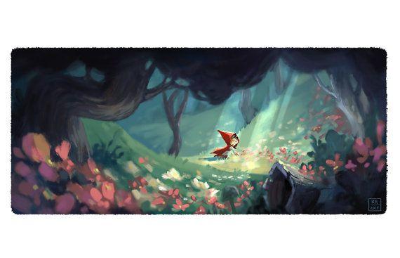 "Little Red Riding Hood recogiendo flores - medio 6 x 12"" lámina de arte"