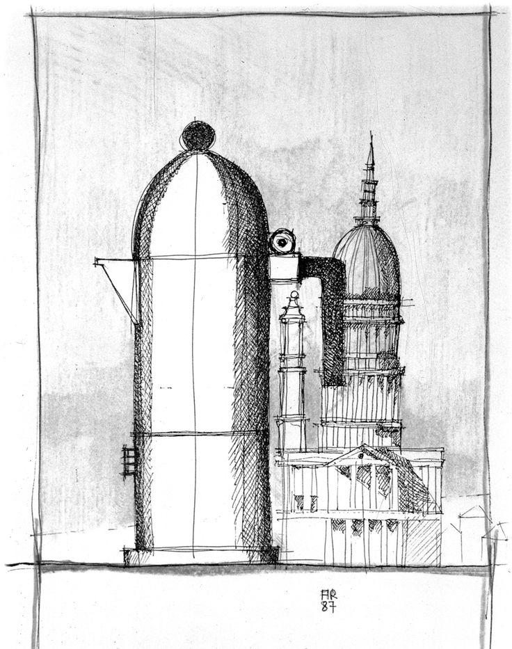 "Aldo Rossi   Sketch for  ""La Cupola"" espressomaschine, 1985/Alessi"