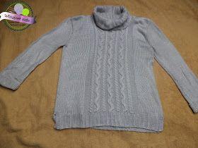 Szary golf na drutach w warkocze  Knitting sweater
