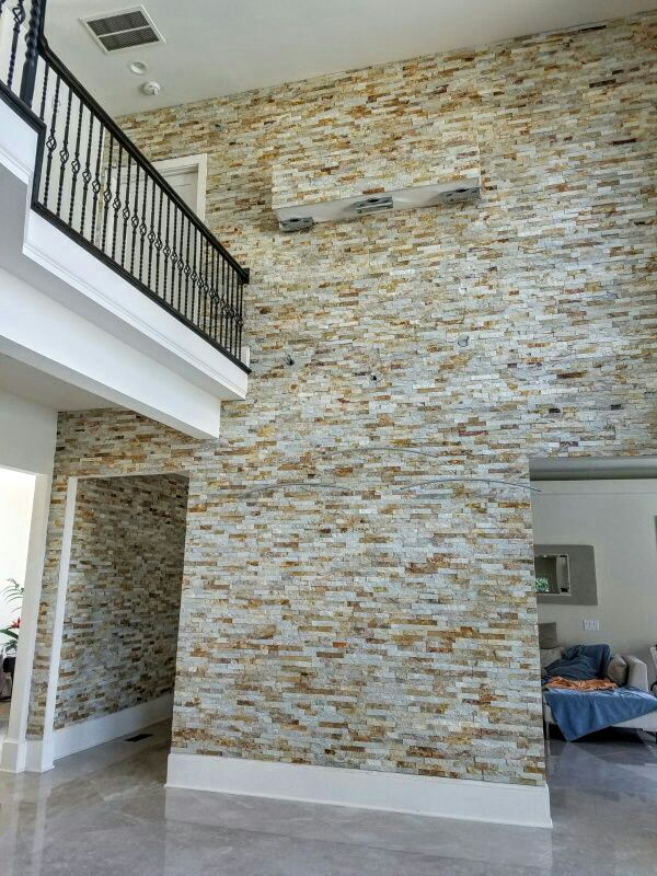 Gold Stacked Stone Stacked Stone Feature Wall Stacked Stone To