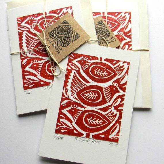 Hand Printed original lino print.  #mangleprints