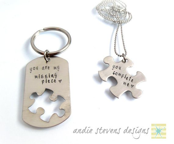 """Personalized Hand Stamped Couples Keychain by andiestevensdesigns, $35.00 