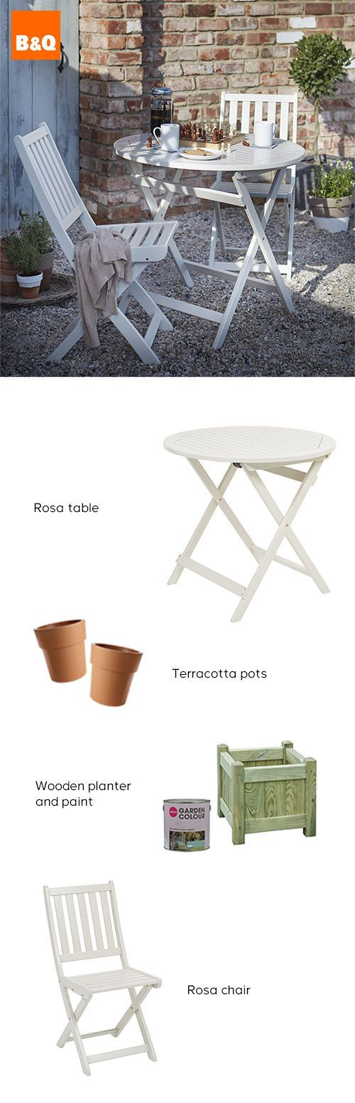 This neutral garden set is perfect for small gardens. You can still enjoy a casual breakfast outside, or as the evenings get warmer a glass of something fruity  at dusk. Fold away table and chairs means you can easily clear them away when you need the space for a larger party. Cheers!