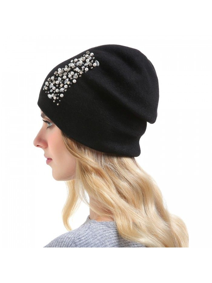 eb6c6ceee33f72 Hats & Caps, Women's Hats & Caps, Skullies & Beanies, Womens Wool Hat - Winter  Cashmere Caps Oversized Beanies With Rhinestones Ski Hats - Style2-black ...