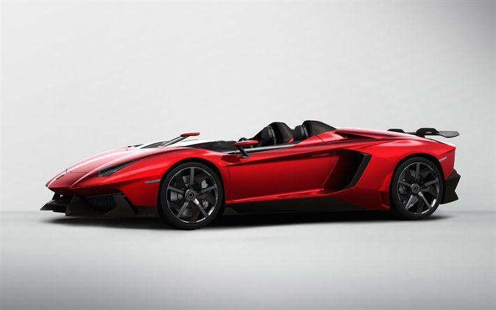 Descargar fondos de pantalla Lamborghini Aventador J, 4k, roadster, carreras de coches, conceptos, coche deportivo, descapotable, el deporte italiano coches, Lamborghini